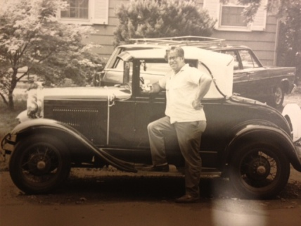 photo dad with antique car
